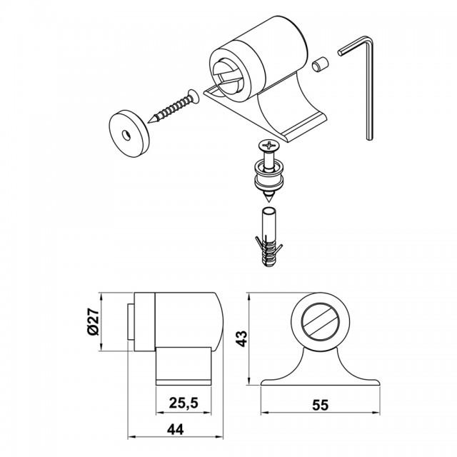 NICKEL - MAT NICKEL MAGNETIC DOOR RETAINER FLOOR BARREL